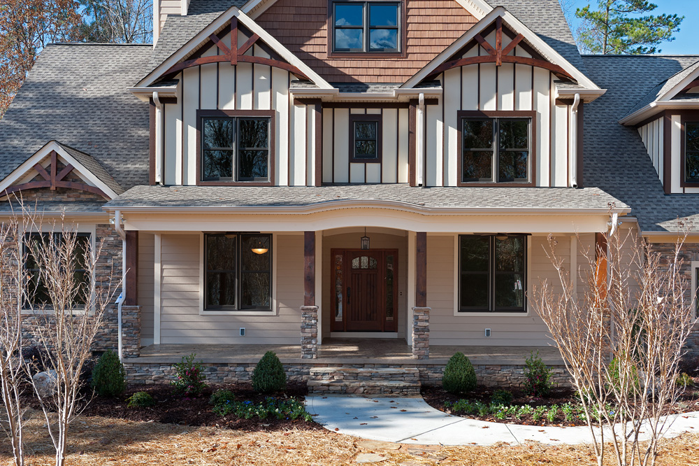 craftsman style homes stone close up
