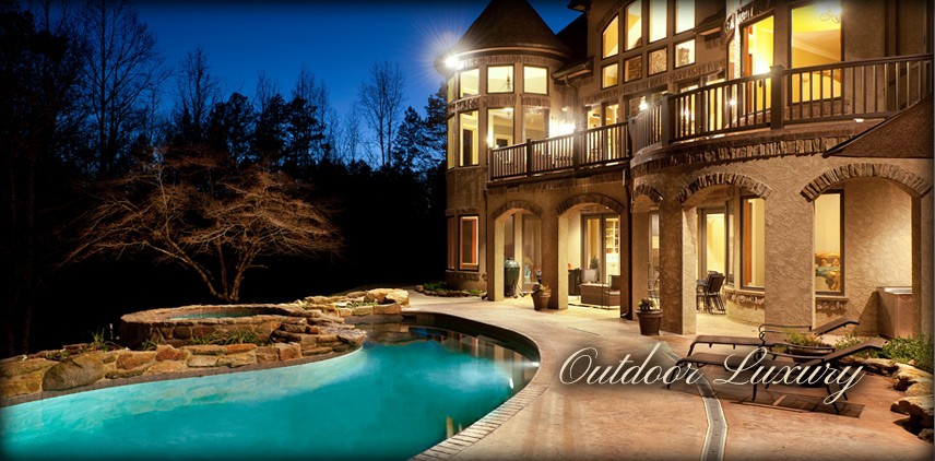 Outdoor relaxing and landscaping with pool and hot tub