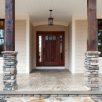craftsman style homes front porch entrance view close up